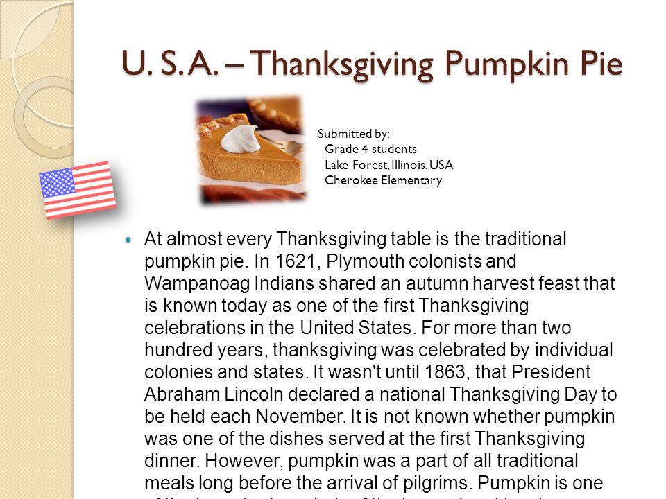U. S. A. – Thanksgiving Pumpkin Pie