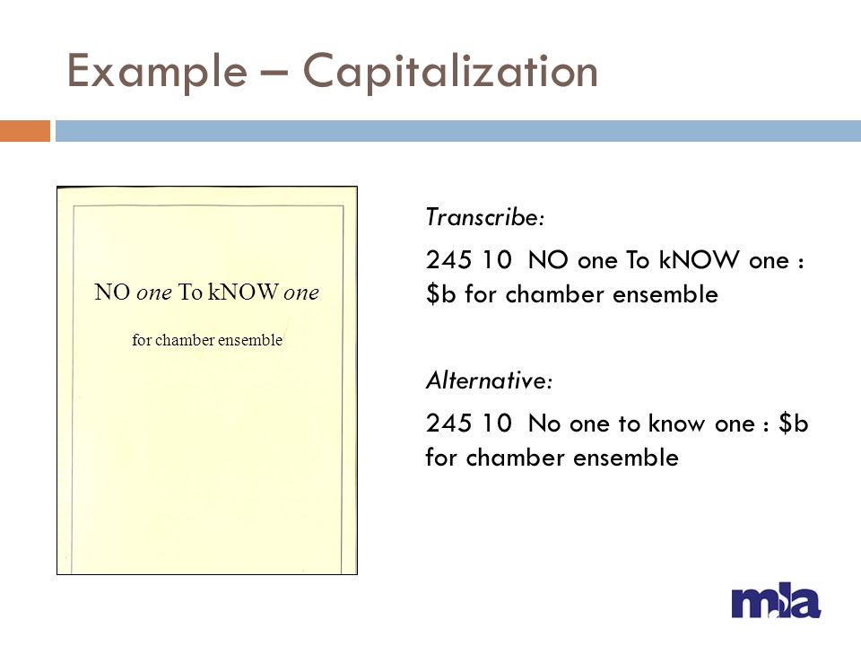 Example – Capitalization