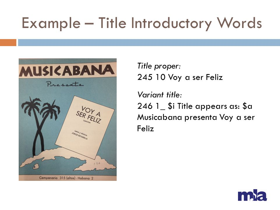 Example – Title Introductory Words