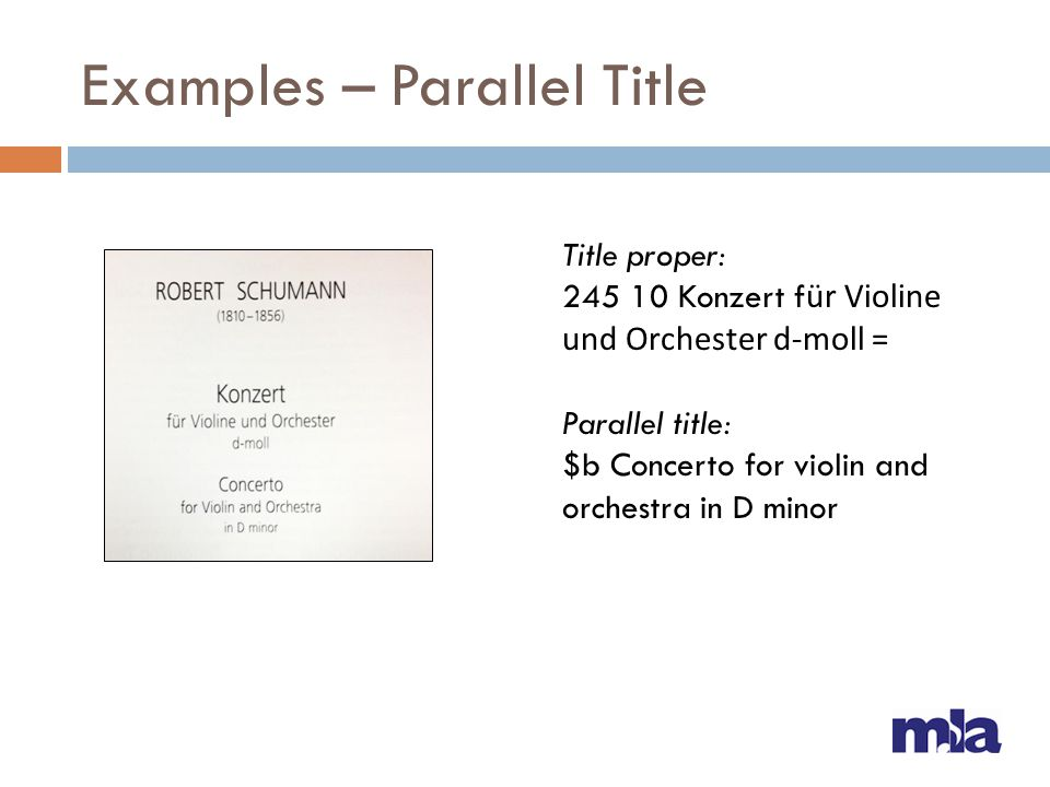 Examples – Parallel Title