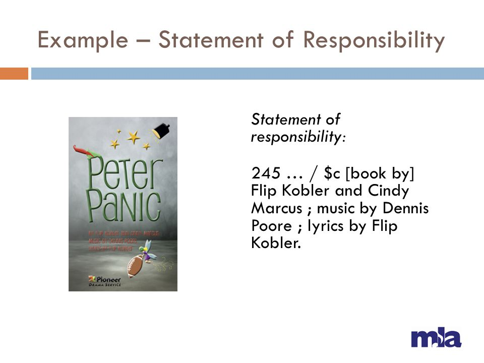 Example – Statement of Responsibility