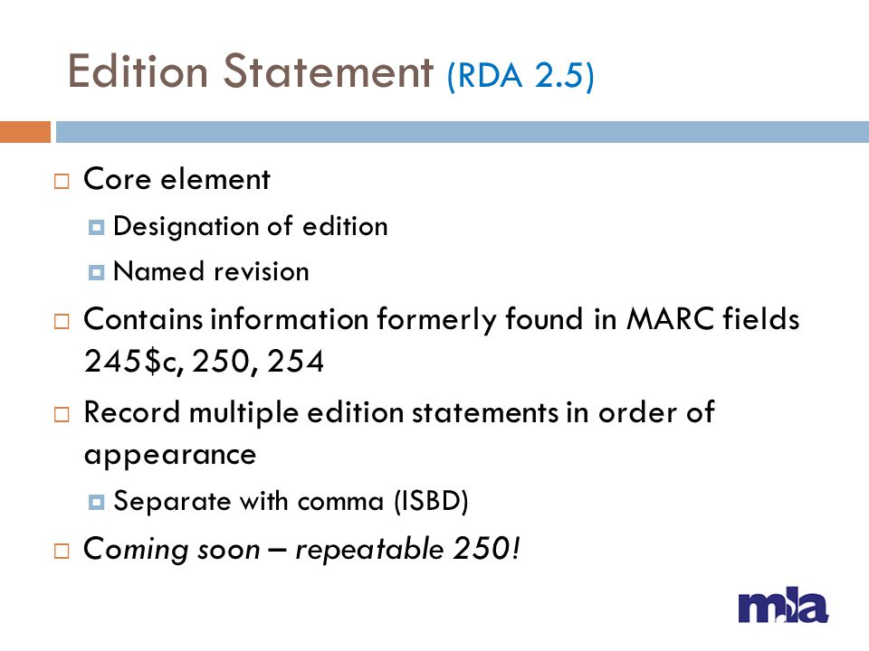Edition Statement (RDA 2.5)