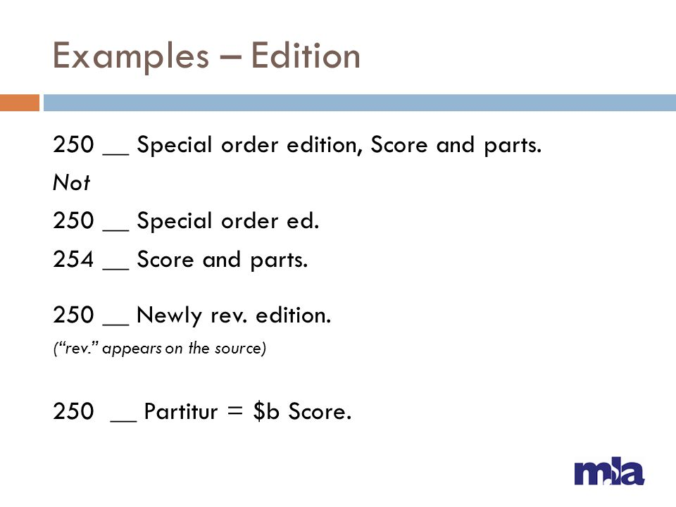 Examples – Edition 250 __ Special order edition, Score and parts. Not