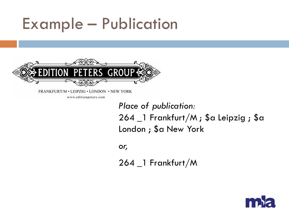 Example – Publication Place of publication: