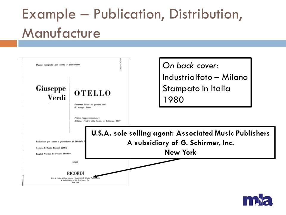 Example – Publication, Distribution, Manufacture