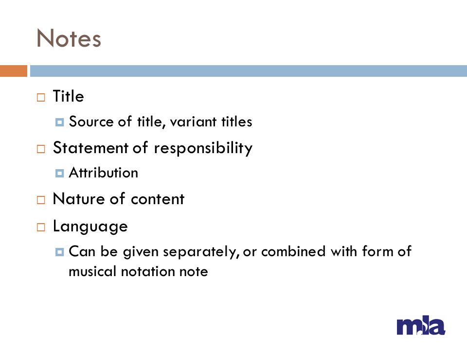 Notes Title Statement of responsibility Nature of content Language