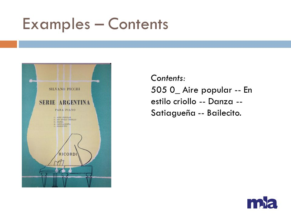 Examples – Contents Contents: