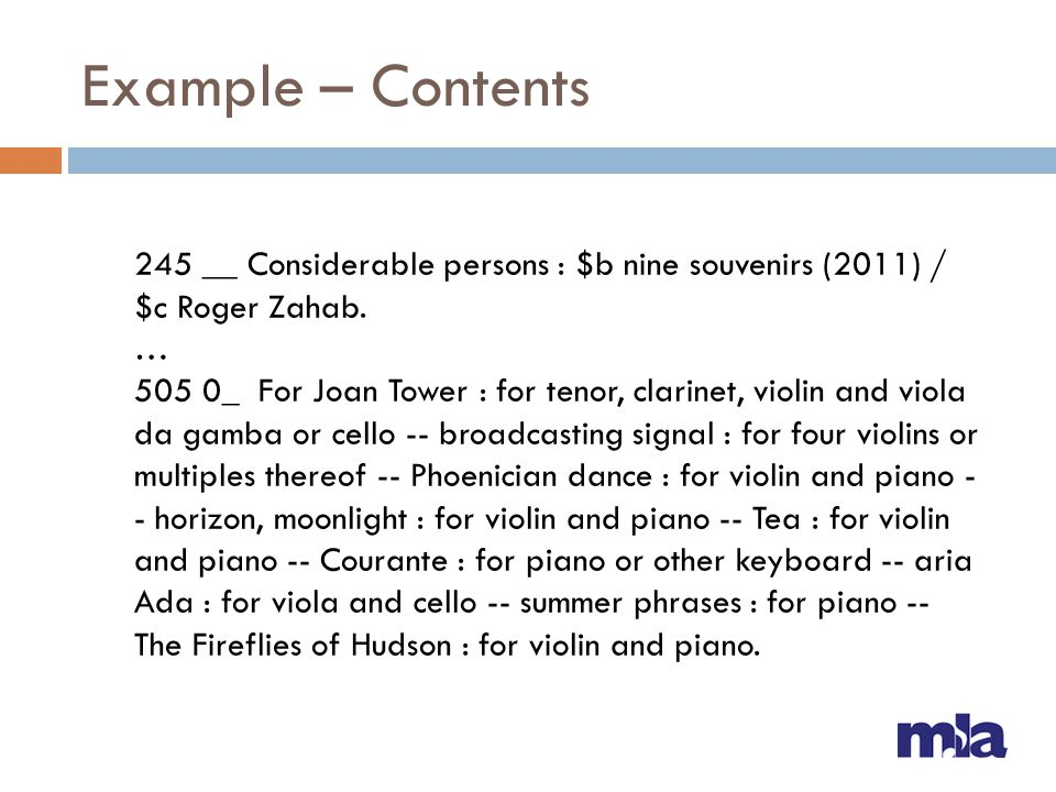 Example – Contents 245 __ Considerable persons : $b nine souvenirs (2011) / $c Roger Zahab. …