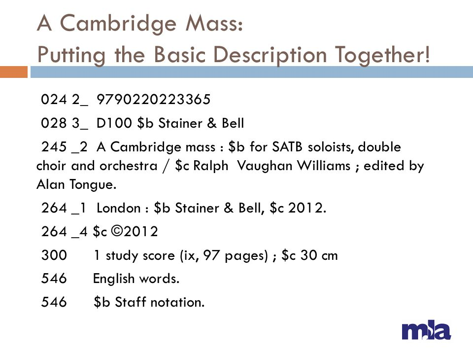 A Cambridge Mass: Putting the Basic Description Together!