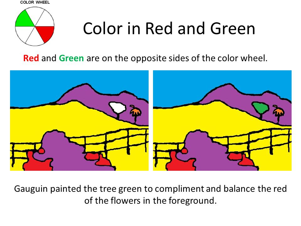 Red and Green are on the opposite sides of the color wheel.