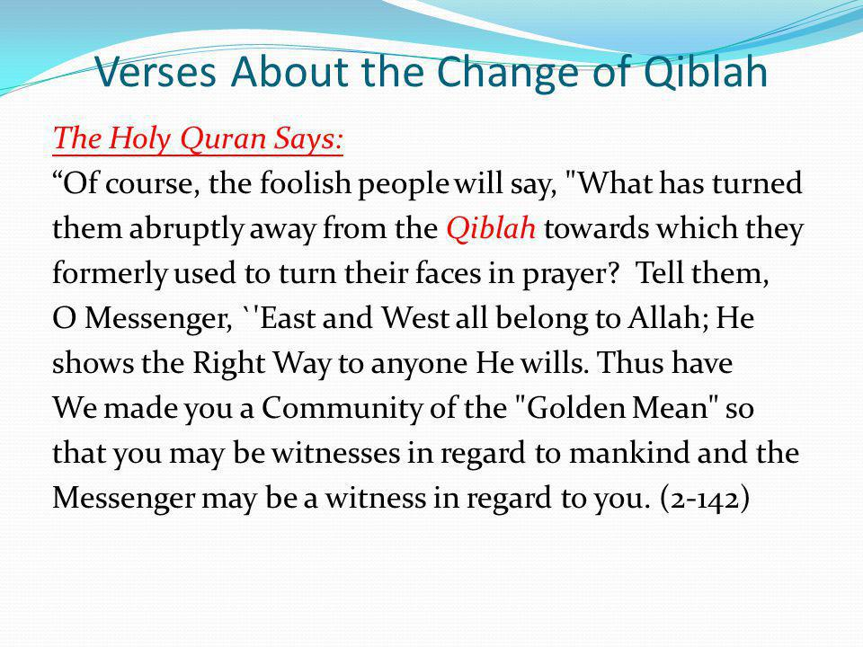 Verses About the Change of Qiblah
