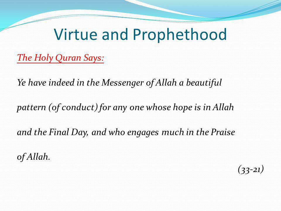 Virtue and Prophethood