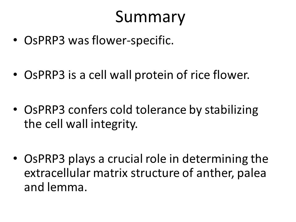 Summary OsPRP3 was flower-specific.
