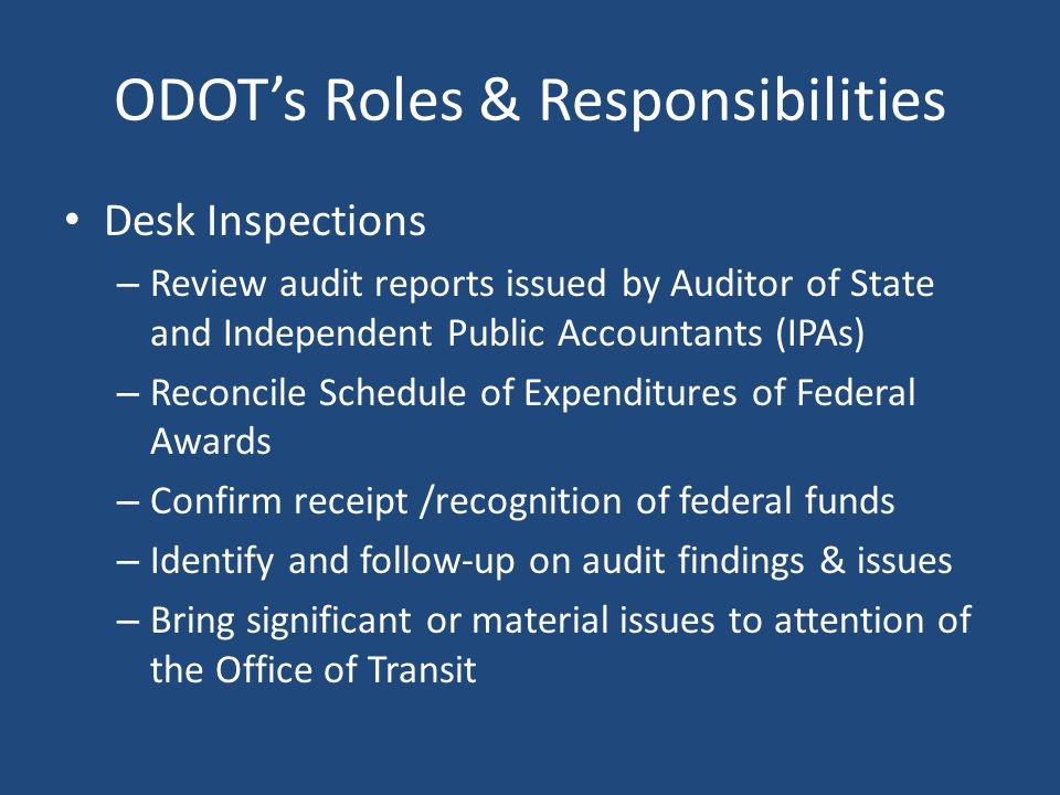 ODOT's Roles & Responsibilities