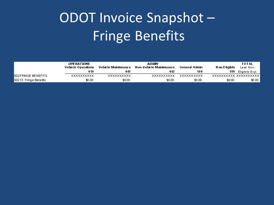 ODOT Invoice Snapshot – Fringe Benefits