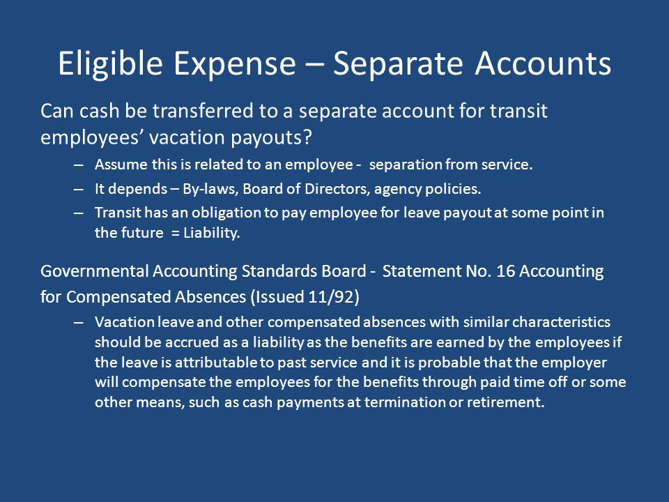 Eligible Expense – Separate Accounts
