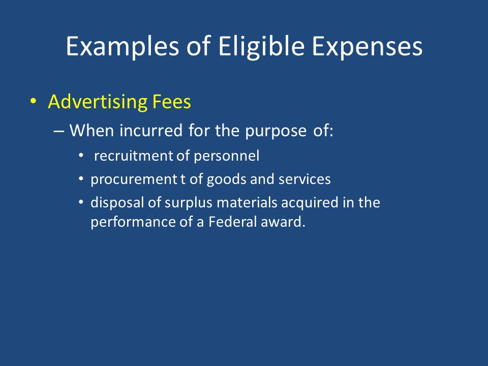 Examples of Eligible Expenses