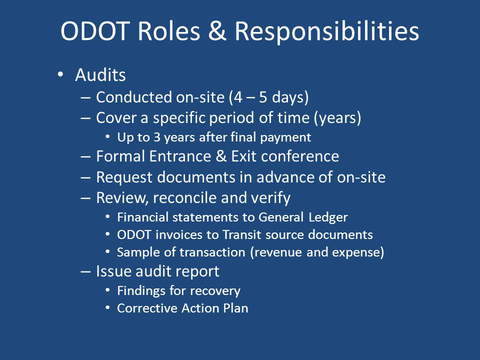 ODOT Roles & Responsibilities