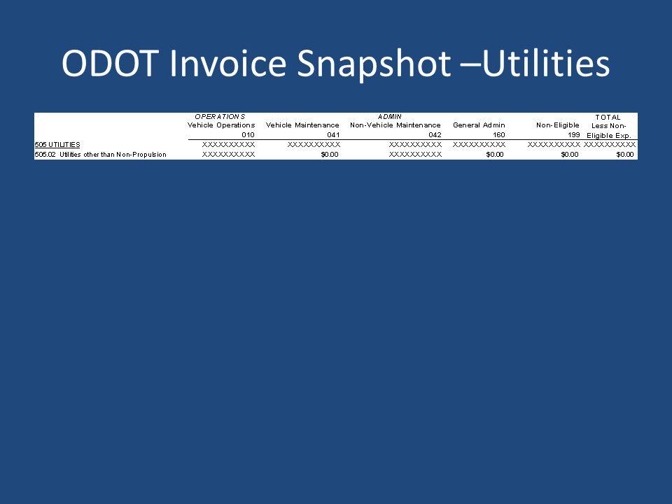 ODOT Invoice Snapshot –Utilities