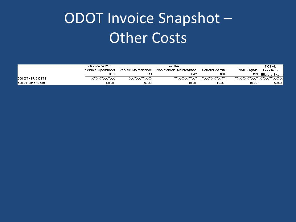 ODOT Invoice Snapshot – Other Costs