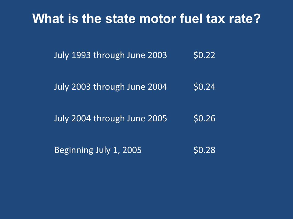 What is the state motor fuel tax rate