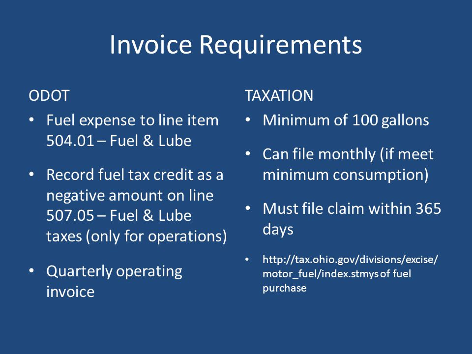 Invoice Requirements ODOT