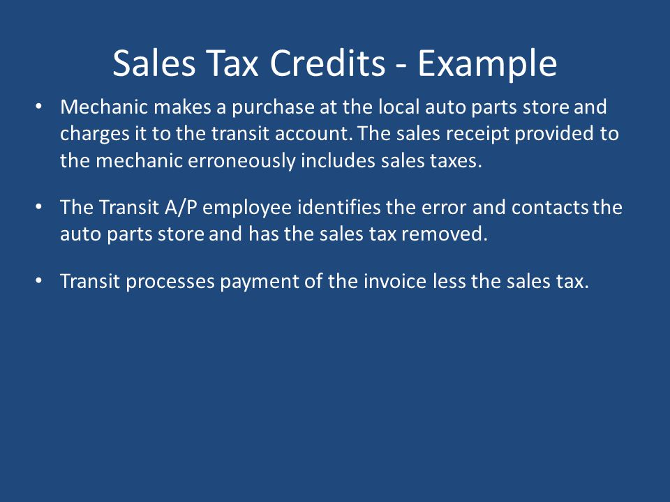 Sales Tax Credits - Example