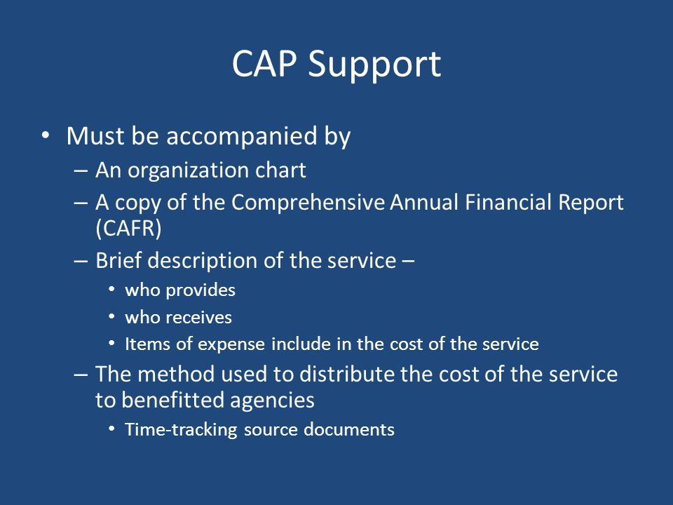 CAP Support Must be accompanied by An organization chart