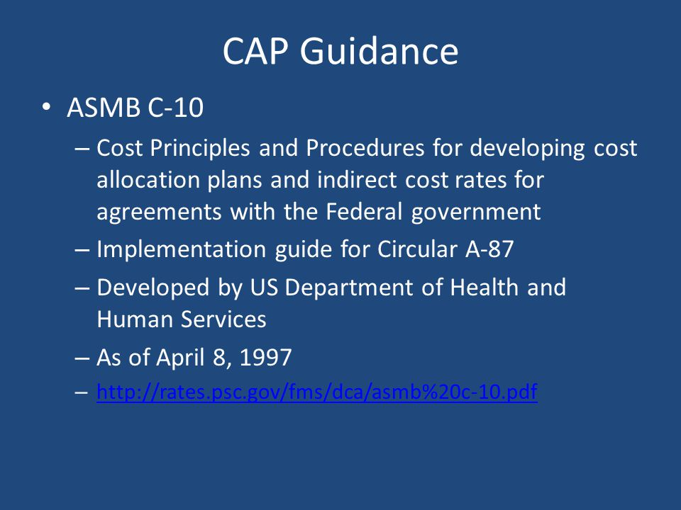 CAP Guidance ASMB C-10.