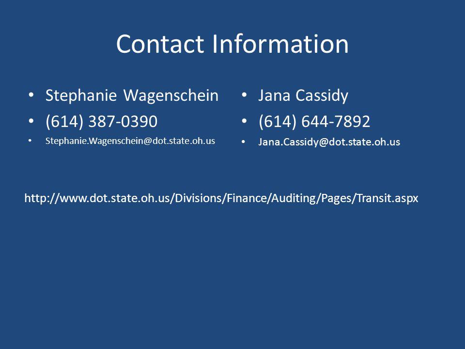 Contact Information Stephanie Wagenschein. (614) 387-0390. Stephanie.Wagenschein@dot.state.oh.us.