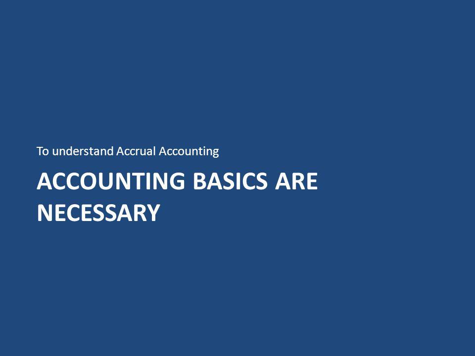 Accounting Basics are necessary