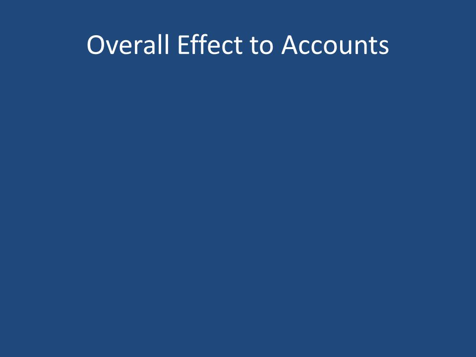 Overall Effect to Accounts