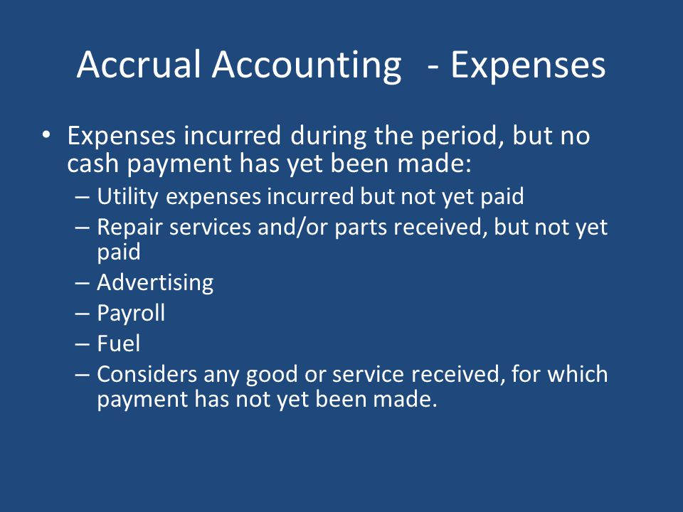 Accrual Accounting - Expenses