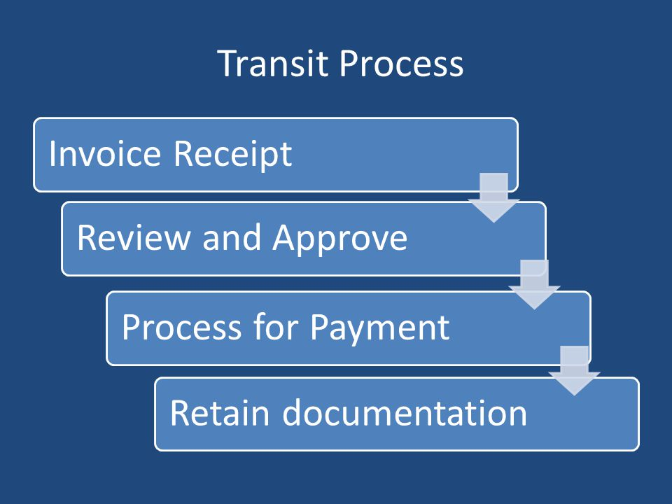 Transit Process Invoice Receipt Review and Approve Process for Payment