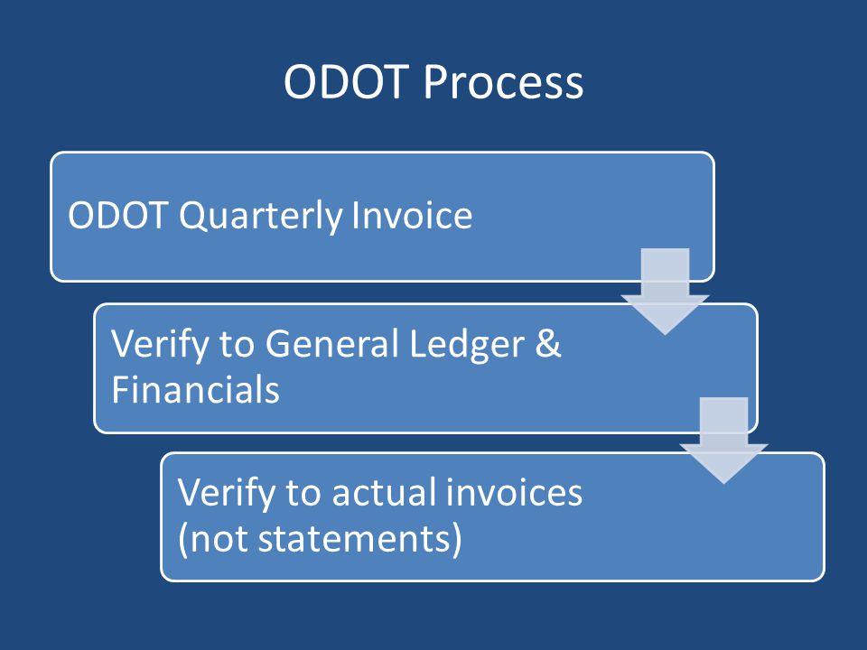 ODOT Process ODOT Quarterly Invoice
