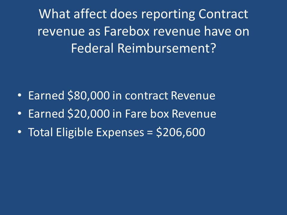 What affect does reporting Contract revenue as Farebox revenue have on Federal Reimbursement