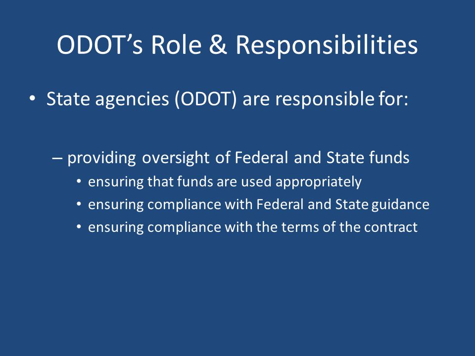 ODOT's Role & Responsibilities