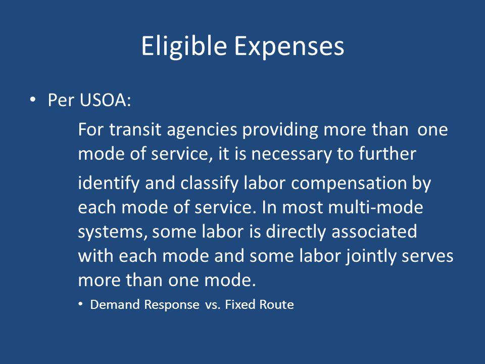 Eligible Expenses Per USOA: