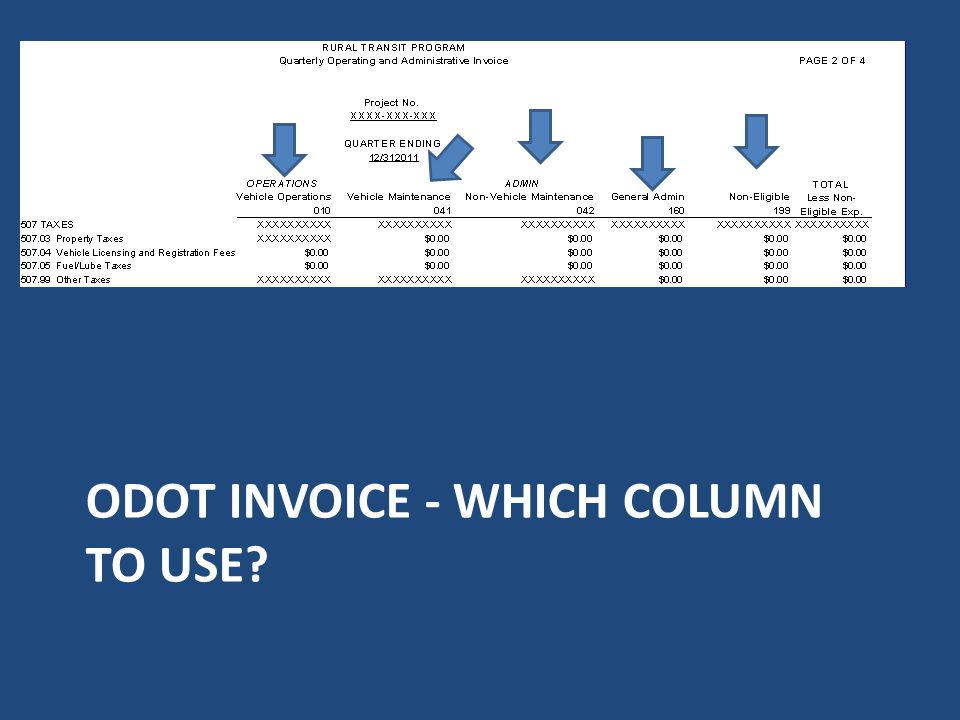 ODOT invoice - Which column to use