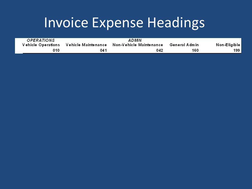 Invoice Expense Headings
