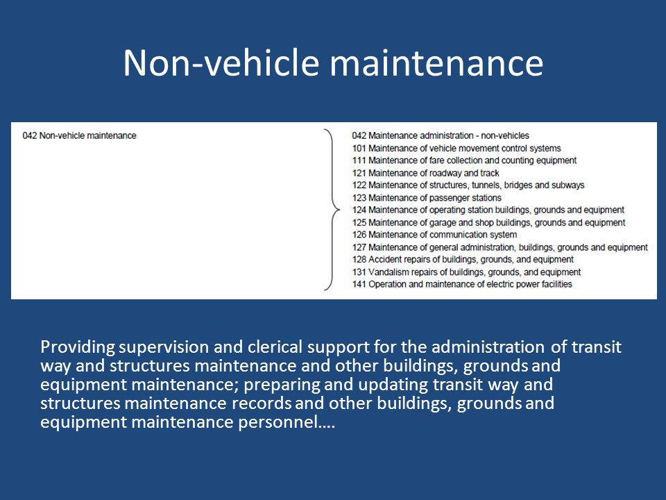 Non-vehicle maintenance