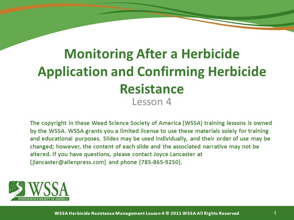 Monitoring After a Herbicide Application and Confirming Herbicide Resistance