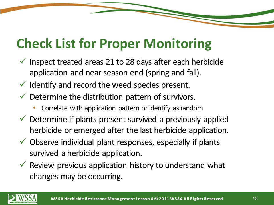 Check List for Proper Monitoring