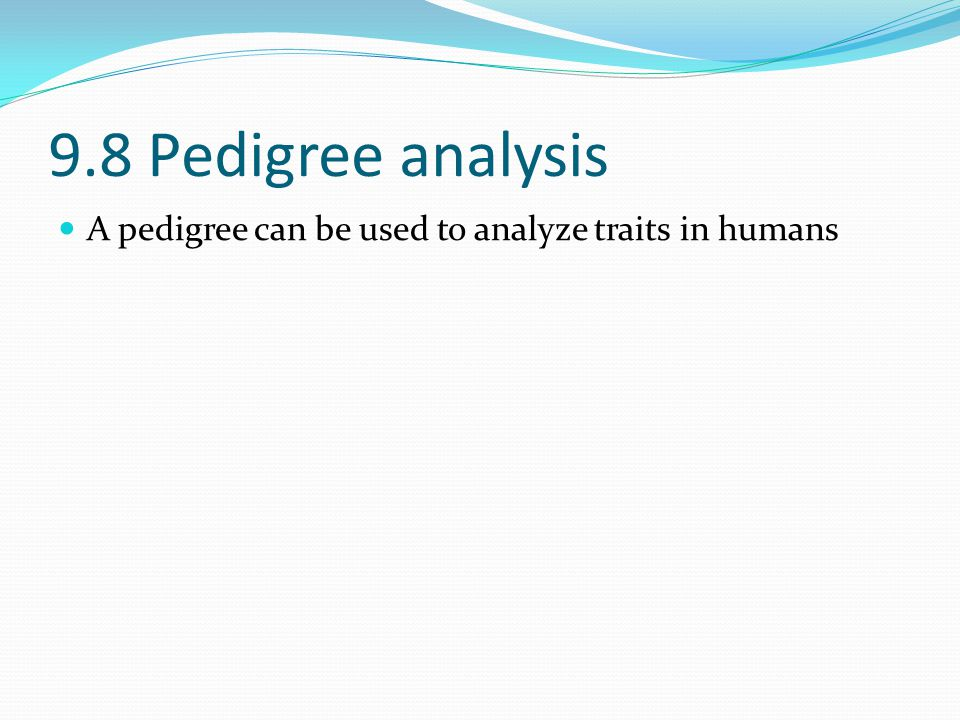 9.8 Pedigree analysis A pedigree can be used to analyze traits in humans