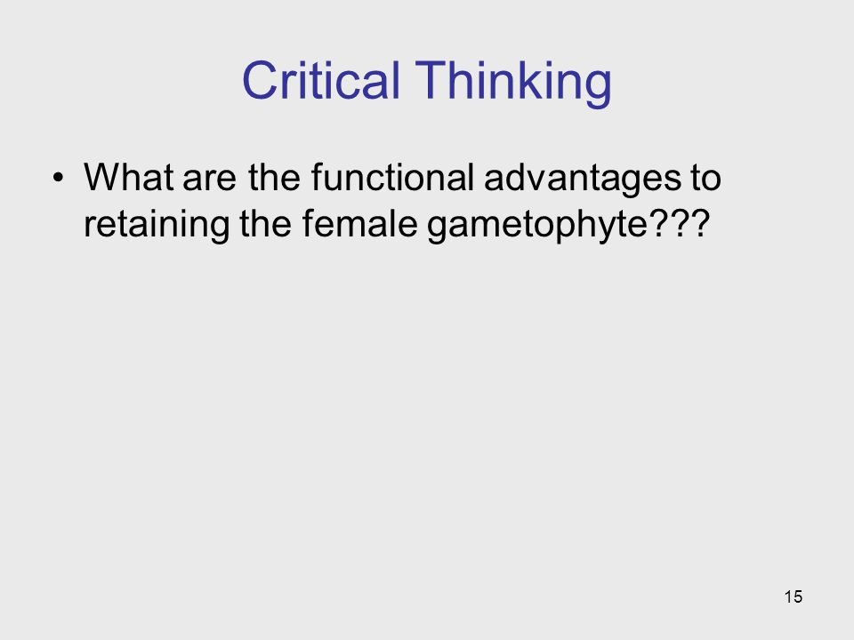 Critical Thinking What are the functional advantages to retaining the female gametophyte