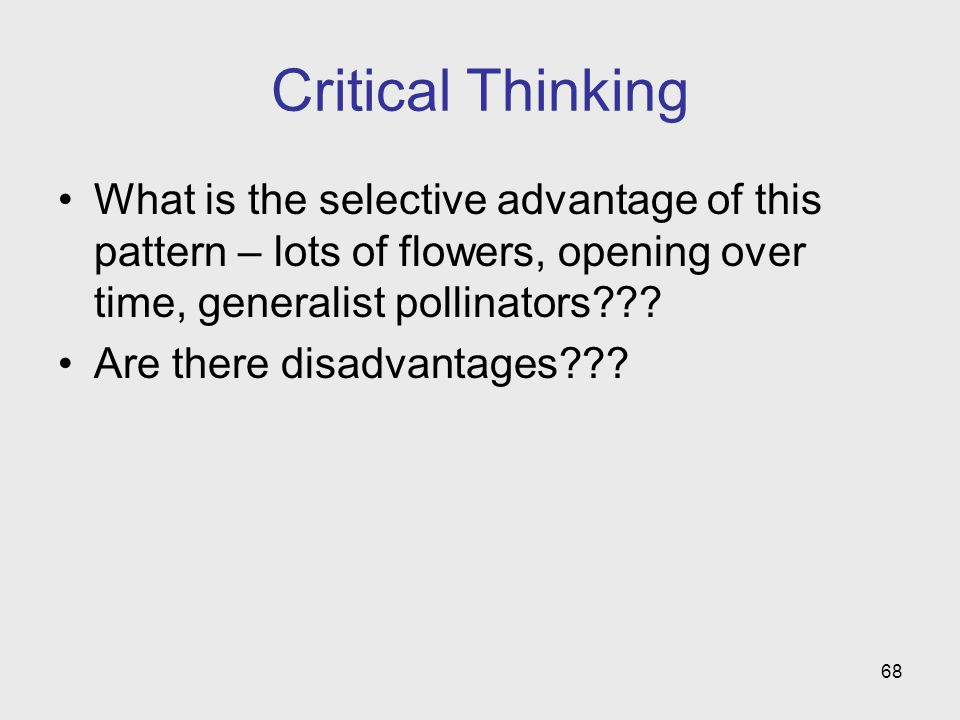 Critical Thinking What is the selective advantage of this pattern – lots of flowers, opening over time, generalist pollinators