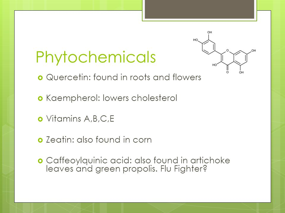 Phytochemicals Quercetin: found in roots and flowers