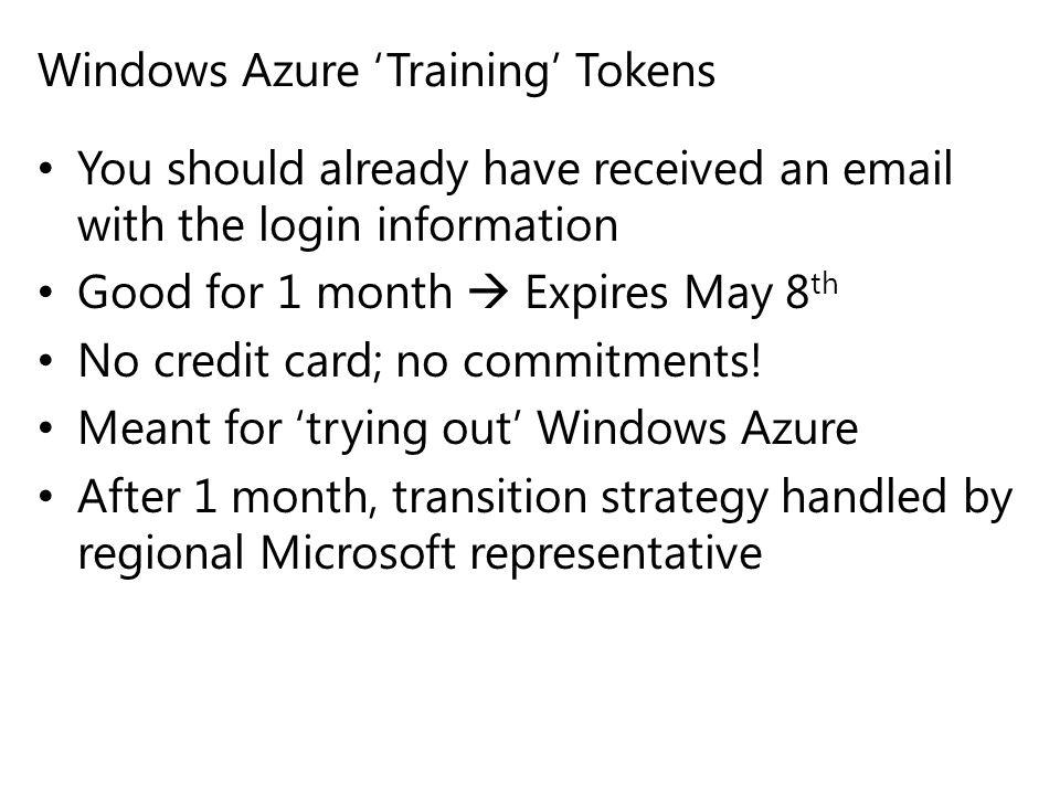 Windows Azure 'Training' Tokens
