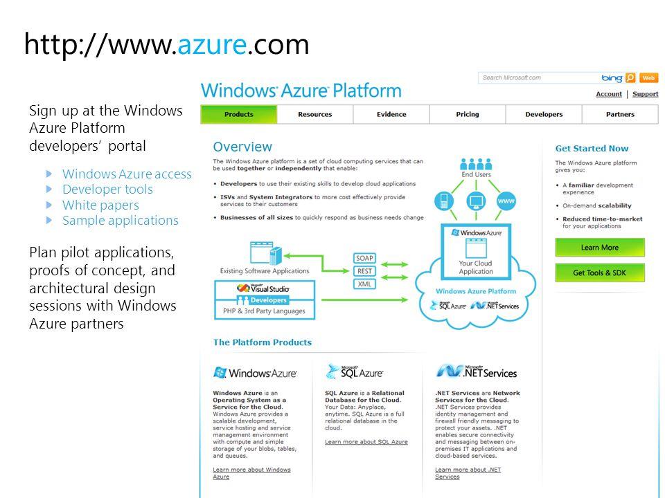 http://www.azure.com Sign up at the Windows Azure Platform developers' portal. Windows Azure access.