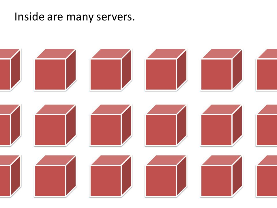 Inside are many servers.